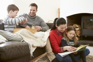 happy family in home